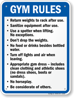Gym Rules Sign Sku S2 0045