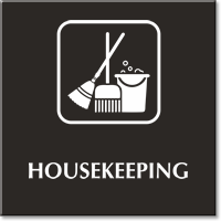 Engraved Housekeeping Sign Cleaning Equipment Symbol Sku