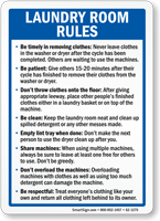 Laundry Room Rules Sign Sku S2 1275