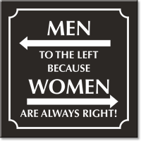 Men To The Left Because Women Are Always Right Restroom Sign Sku Se 6506 Wr