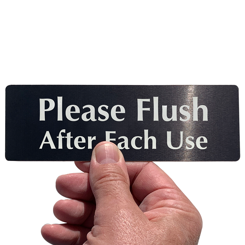 Please Flush After Each Use Bathroom Door Sign, SKU