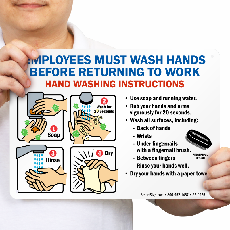 Employees Wash Hands Sign With Instruction Steps Graphic Sku S2 0925