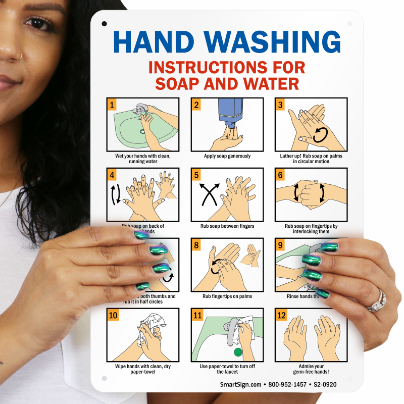 Hand Washing Instructions For Soap And Water Sign Sku S2 0920